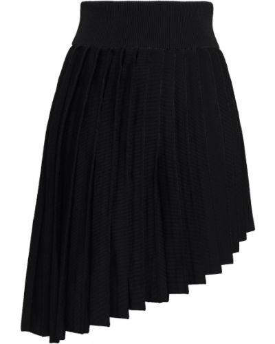 Плиссированная черная юбка мини из вискозы Balmain