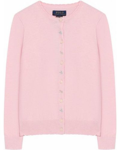 Повседневный розовый кардиган на пуговицах с вышивкой Polo Ralph Lauren