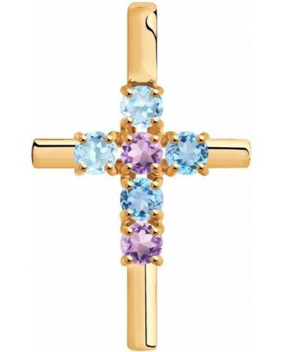 Золотистый крест золотой с топазом Sokolov