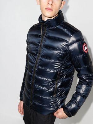 Пуховая синяя длинная куртка с длинными рукавами Canada Goose