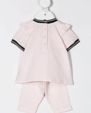Хлопковый с рукавами брючный розовый спортивный костюм Moncler Kids
