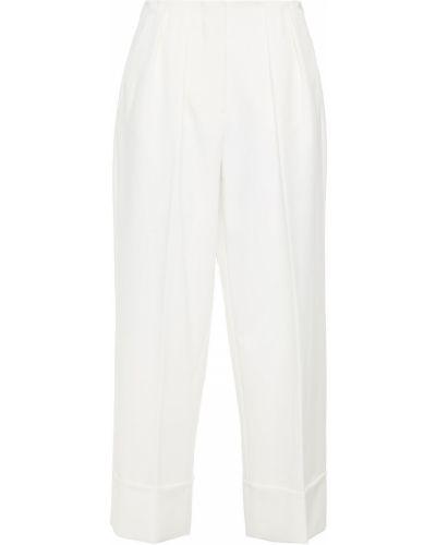 Белые укороченные брюки с карманами свободного кроя Sara Battaglia