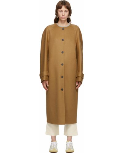 Черное пальто кэмэл Loewe