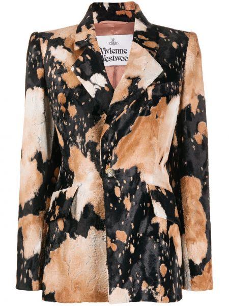 Бархатный удлиненный пиджак на пуговицах с лацканами Vivienne Westwood