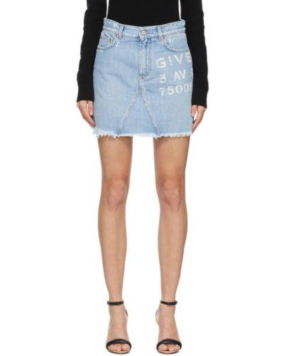 Niebieska spódnica jeansowa z paskiem srebrna Givenchy