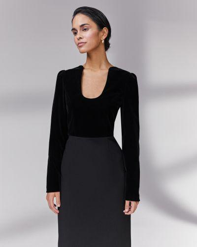 Бархатное с рукавами черное платье макси 12storeez