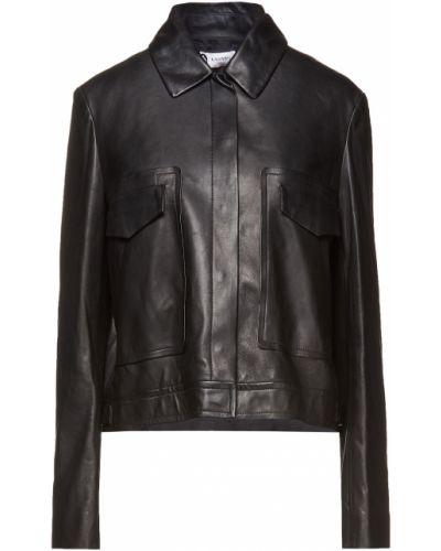 Черная кожаная куртка с манжетами Lanvin