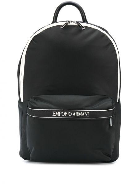 Czarny plecak z nylonu z printem Emporio Armani