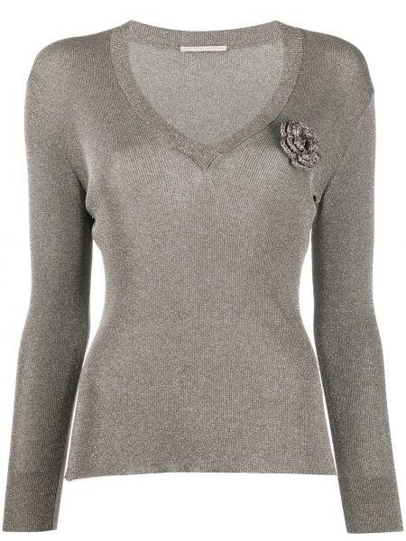 Серебряный свитер с V-образным вырезом с аппликациями из вискозы Marco De Vincenzo