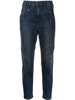 Хлопковые синие джинсы бойфренды с нашивками Diesel