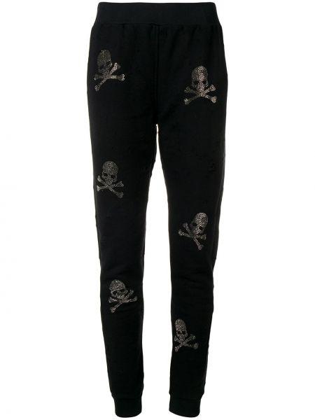 Sportowe spodnie czarne z mankietami Philipp Plein