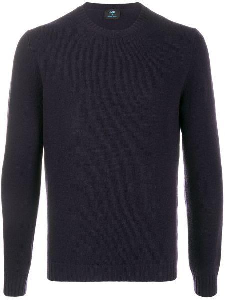 Prążkowany niebieski sweter z długimi rękawami Mp Massimo Piombo