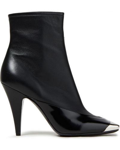 Czarne ankle boots skorzane na obcasie Emilio Pucci