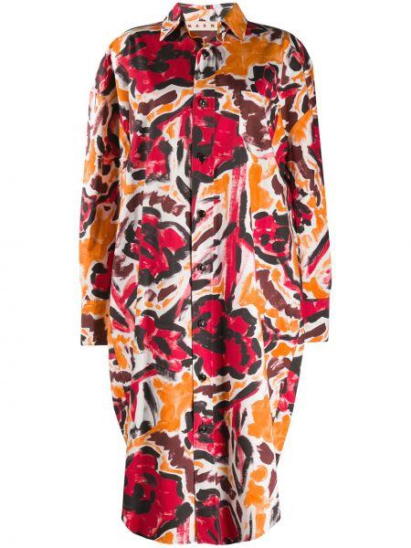 Платье на пуговицах с цветочным принтом Marni