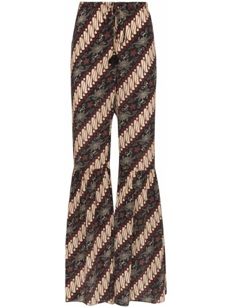 Spodnie z wysokim stanem z jedwabiu z printem Figue