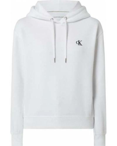 Biała bluza z kapturem bawełniana Calvin Klein Jeans