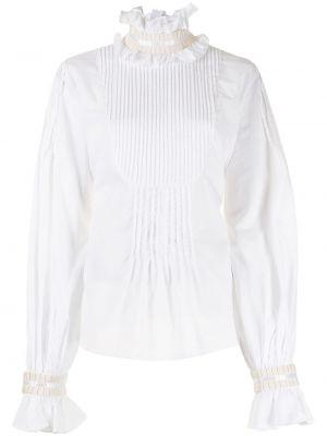 Белая блузка с воротником с оборками Wandering