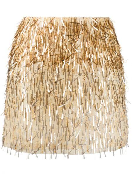Шелковая плиссированная юбка мини с пайетками Alberta Ferretti