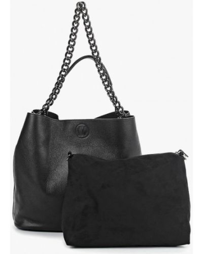Кожаная сумка шоппер черная Madeleine