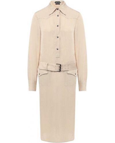 Платье с поясом шелковое с длинными рукавами Tom Ford