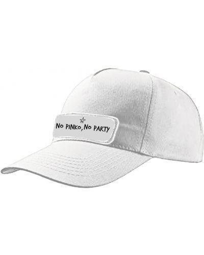 Biała czapka bawełniana z printem Pinko