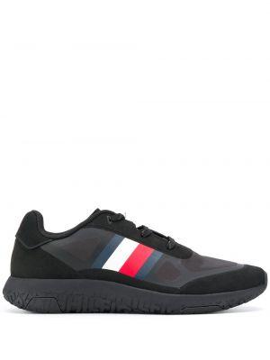 Черные кроссовки беговые с нашивками для бега на шнуровке Tommy Hilfiger