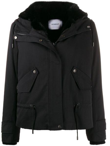 Куртка с капюшоном черная длинная Dondup