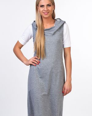 Платье серое с капюшоном Kapsula