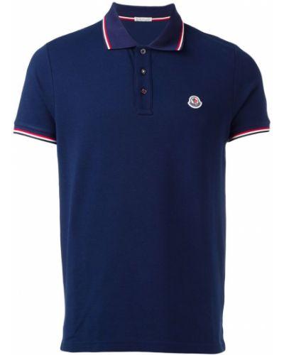 Синяя футболка с логотипом Moncler