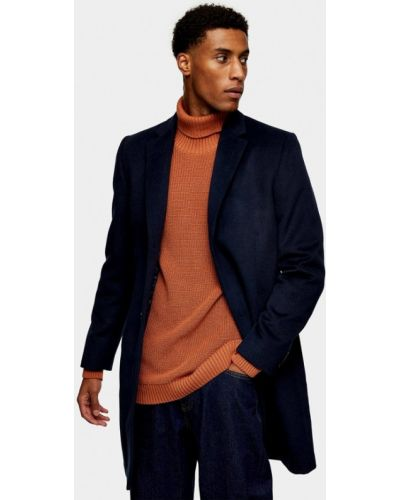 Синее пальто Topman