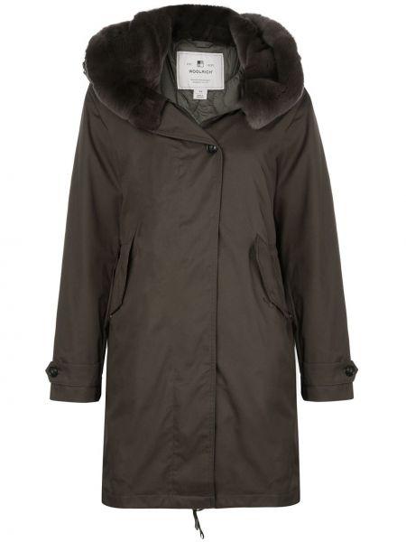 Зеленое шерстяное длинное пальто с капюшоном Woolrich