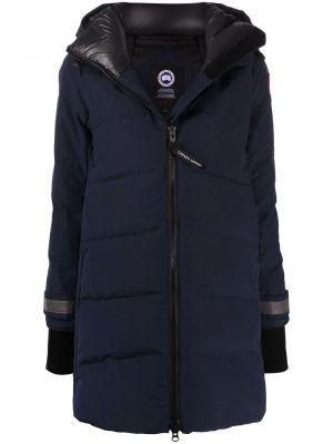С рукавами синяя нейлоновая длинная куртка с перьями Canada Goose