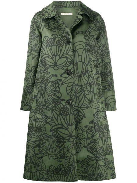 С рукавами зеленое пальто с воротником на пуговицах Odeeh