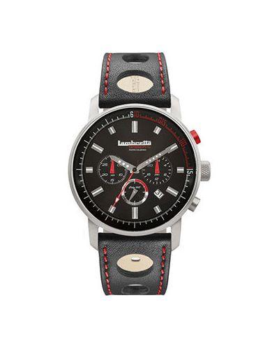 Часы с кожаным ремешком кварцевые черный Lambretta