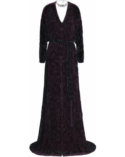 Шелковое платье макси - фиолетовое Roberto Cavalli
