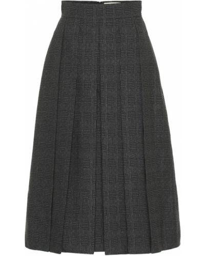 Темно-серая шерстяная классическая юбка миди свободного кроя Fendi
