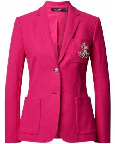 Różowa marynarka bawełniana zapinane na guziki Lauren Ralph Lauren