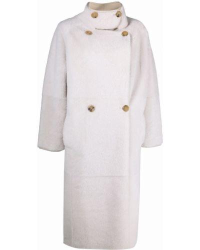 Белое пальто с воротником-стойка Blancha