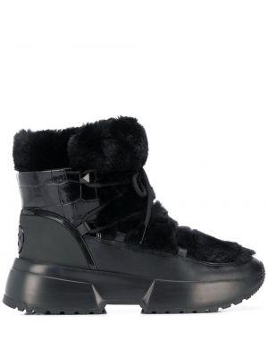 Ботинки на каблуке черные из крокодила Michael Michael Kors