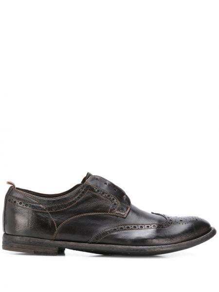 Brązowy buty brogsy z prawdziwej skóry na pięcie Officine Creative