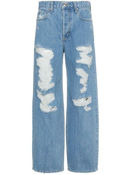 Хлопковые синие широкие джинсы свободного кроя Jonathan Simkhai