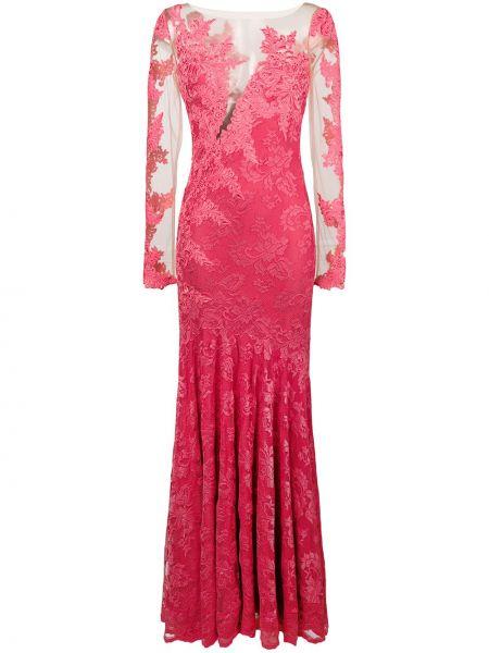 Розовое платье макси с вышивкой из вискозы Olvi´s