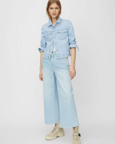 Niebieska kurtka jeansowa bawełniana w kwiaty Marc O Polo