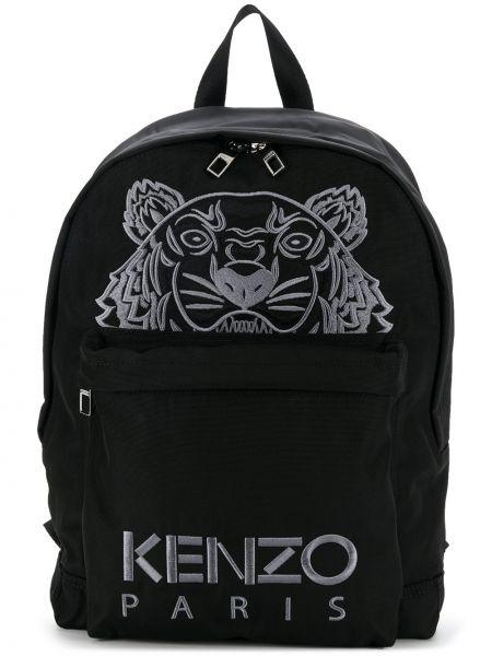 Z paskiem czarny plecak na paskach z łatami Kenzo