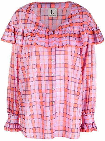 Розовая хлопковая рубашка с V-образным вырезом Lautre Chose