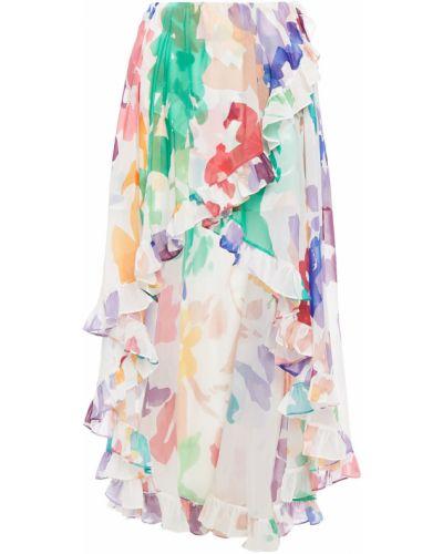 Асимметричная шифоновая белая юбка Caroline Constas