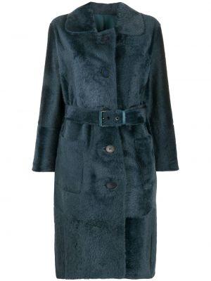 Синее кожаное длинное пальто с карманами Liska