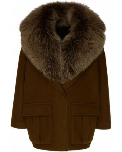 Шерстяная коричневая куртка с воротником Blancha