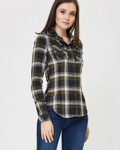 Рубашка с длинным рукавом хаки D'she