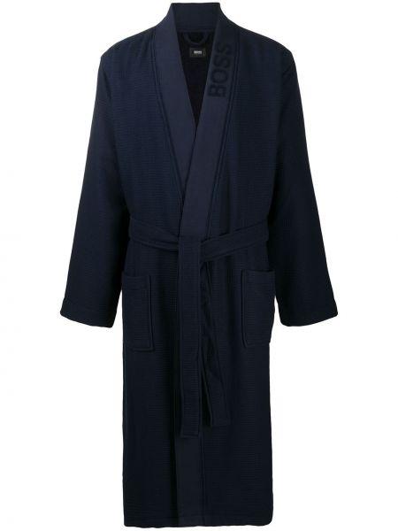 Długi szlafrok bawełniany - niebieski Boss